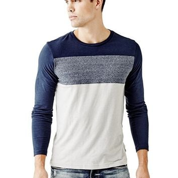 Melange Color-Blocked Crewneck Tee | GUESS.com