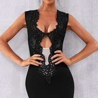Night Of Passion Sleeveless Sequin Plunge V Neck Sheer Mesh Cut Out Bodycon Bandage Mini Dress - 6 Colors Available