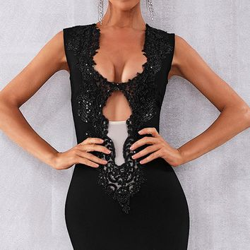 Night Of Passion Black Sleeveless Sequin Plunge V Neck Sheer Mesh Cut Out Bodycon Bandage Mini Dress - 6 Colors Available