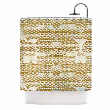 "Pom Graphic Design ""Mint & Gold Empire"" Yellow Geometric Shower Curtain"