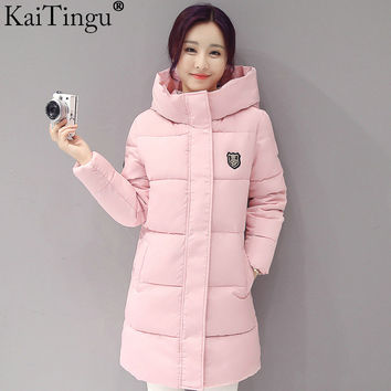 KaiTingu 2016 Brand New Fashion Women Winter Warm Down Parka Jackets For Autumn Winter Long Hood Over Zip Up Solid Coat