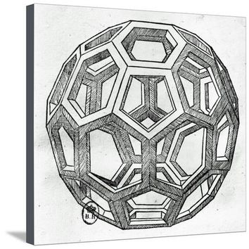 "Icosahedron, from ""De Divina Proportione"" by Luca Pacioli, Published 1509, Venice Giclee Print by Leonardo da Vinci at Art.com"