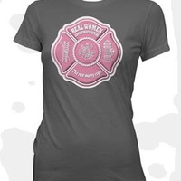 Real Women Love Firefighters Maltese Cross Ladies Gray T-Shirt