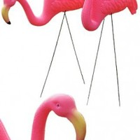 Pink Flamingo : Set of 2 : 1950s Yard Art : Plastic : Classic Kitsch : Made in China