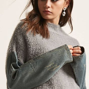 Denim Sleeve Combo Sweater