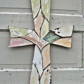 Pastel Colors Wooden Mosaic Cross, Reclaimed Wood Art