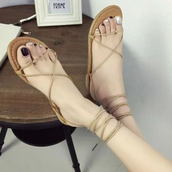 New 2018 Women Sandals Fashion Gladiator Sandal Sexy Cutout Knee High Sandalias Flip Flops Summer Style Casual Shoes Woman