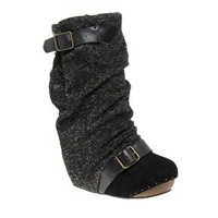 Irregular Choice | Irregular Choice Long Lashes Tweed Concealed Wedge Boots at ASOS