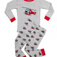 "Leveret Little Boy ""Helicopter"" 2 Piece Pajama 100% Cotton (Size 6M-7-8 Years)"
