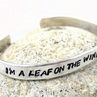HandStamped Firefly Bracelet Im a Leaf On The Wind Watch How I Soar | foxwise - Jewelry on ArtFire