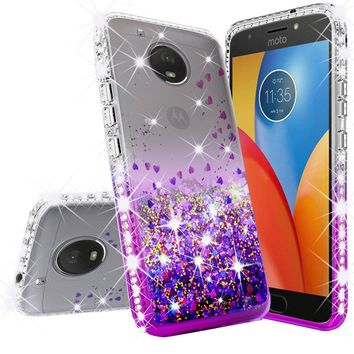 Motorola Moto E4 Case Liquid Glitter Phone Case Waterfall Floating Quicksand Bling Sparkle Cute Protective Girls Women Cover for Moto E4 - Purple