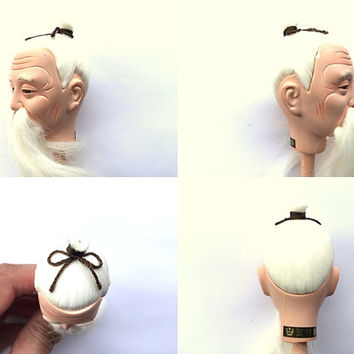 Japanese Doll Head - Old Man Doll Head - Hina Matsuri Doll Head - Body Part D4-67