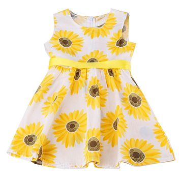 New Fashion Baby Girls Child Sunflower Pattern Princess Party Kid Sleeveless A-Line Dress with Ribbons