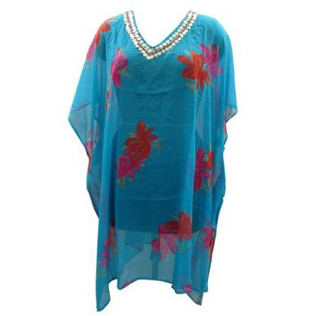 Mogul Womens Kaftan Dress Blue Floral Print Cover up Beach Dresses - Walmart.com