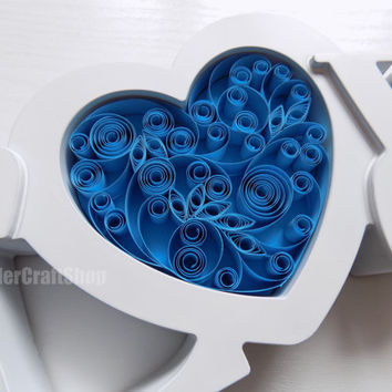 quilled blue heart, wedding sign, love gift for wife, valentine's gift for her, heart home decor, love wall art, paper art, 3d ornament