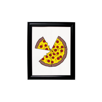 Large Yellow Pizza Print Framed Wall Hanging