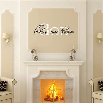 God Bless Our Home Two Layer Vinyl Wall Decal 22058