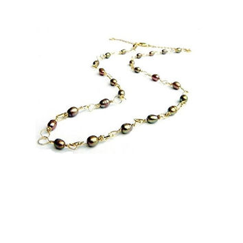 Gold Pearl Necklace , Gold Freshwater Pearl Necklace , Freshwater pearl Necklace , Wire Wrapped Pearls