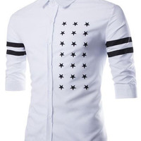 Five-Point Star and Stripe Print Half Sleeve Shirt