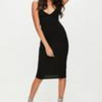 Missguided - Black Cami Strap Bodycon Midi Dress