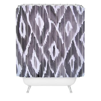 Natalie Baca Painterly Ikat in Black Shower Curtain