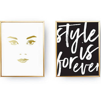 Set Of 2 Prints, Face Print, Style Is Forever, Home Decor, Gold Foil Print, Fashion Girl, Typography Print, Makeup Print, Stylish Wall Decor