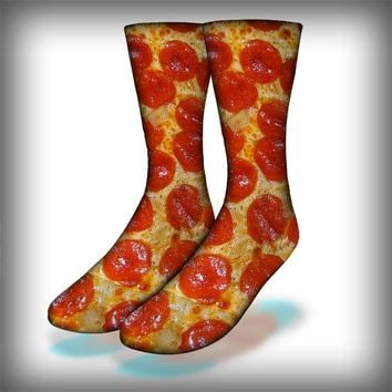 Pepperoni Crew Socks Novelty Streetwear