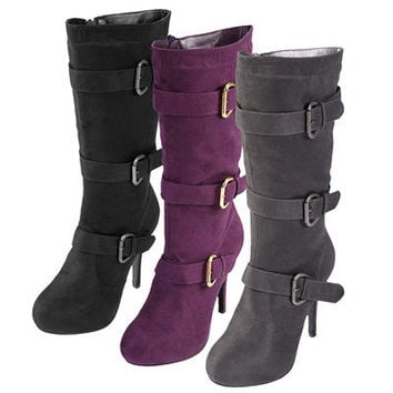 Brinley Co. Womens Buckle Detail High Heel Boots | Meijer.com