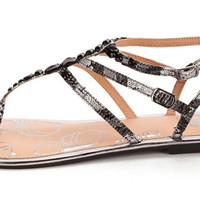 Yellow Box Endora Black and White Thong Sandals