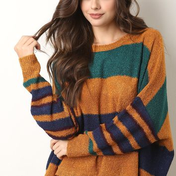 Boxy Stripe Dolman Sleeve Sweater