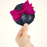 Navy Sequin Fascinator with Pink Bow // mini cocktail hat