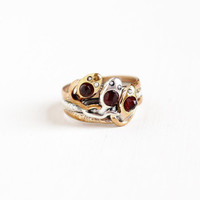 Vintage Art Deco Sterling & Gold Filled Coiled Triple Snake Ring - 1930s Vintage Size 8 Pearl and Garnet Serpent Motif Jewelry, Eternal Love