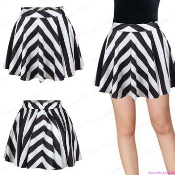 Hot Zebra Mini Skirts Womens Black and White Striped High Waist A-Line Skirt Girls Elastic Running Sport Kilts