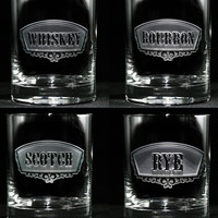 Engraved Whiskey, Bourbon, Scotch & Rye Rocks Glass Set