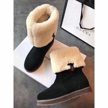 ONETOW Gucci Snow Wool Boots Black Women Gaotong Boots Thickened Flat Shoes