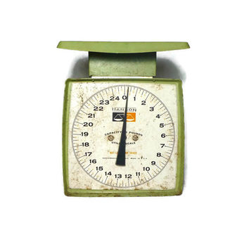 Rustic Hanson Utility Scale, Vintage Avocado Green Metal Scale, Farmhouse Cottage Chic