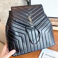 YSL New fashion leather book backpack bag handbag women Black