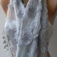 Grey - Lace and Elegance Shawl / Scarf