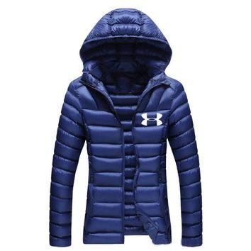 """Under Armour""Newest Winter Fashion Women Casual Brief Paragraph Sport Light Thin Outdoor Hooded Zipper Cardigan Sweatshirt Down Jacket Coat Windbreaker Blue I13874-1"