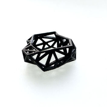 geometric ring  Triangulated Ring in Black 3d by ArchetypeZ