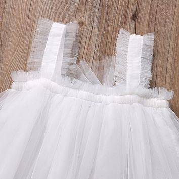 Baby Girl Kids Summer Princess Dresses Outfit Party Wedding Lace Tulle Tutu Dress