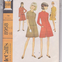 """60s vintage pattern for zip front straight dress or pantdress with front box pleat juinor size 11 bust 31 1/2"""" McCalls 8958 CUT and COMPLETE"""