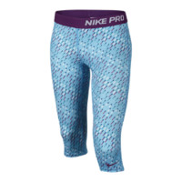 Nike Pro Fitted Graphic Girls' Capris - Polarized Blue