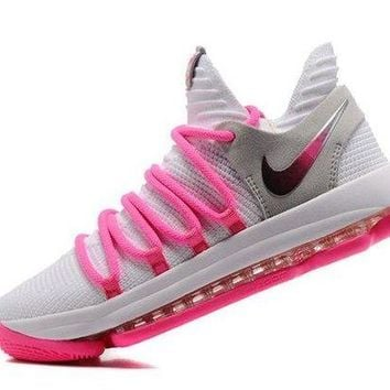 CHENEIR Adaptable Nike Zoom KD 10 EP White Baby Pink Kevin Durant Men's Basketball Shoes Sneakers