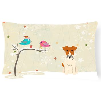 Christmas Presents between Friends Wire Fox Terrier Canvas Fabric Decorative Pillow BB2573PW1216