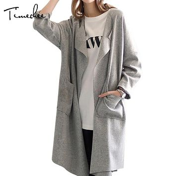 Trench Coat Women 2017 Timechee Casual Loose Turn Down Color Solid Color Pockets Belt Long Coats Outwear LYY0185
