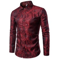 Bright Silk Shirts Men 2017 Promotion Autumn Long Sleeve Casual Cotton Flower Shirts for Men Designer Slim Fit Dress Shirts