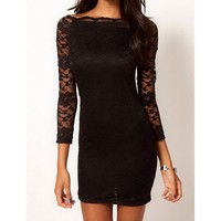 Black Bodycon Dress in Lace