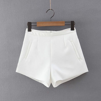 Summer Women's Fashion Korean Stylish High Rise Simple Design Shorts [4919987972]
