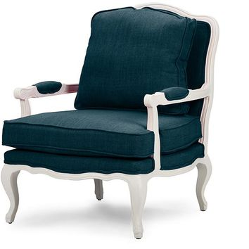 Baxton Studio Antoinette Classic Antiqued Azure Fabric French Accent Chair Set of 1